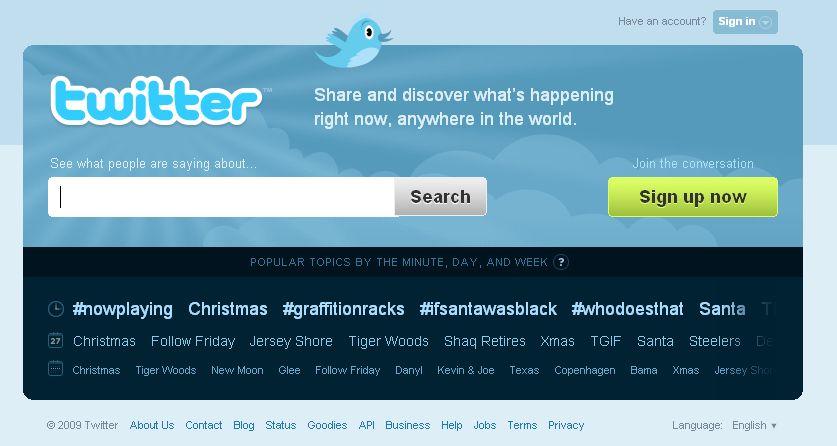 Hlavní stránka Twitter.com